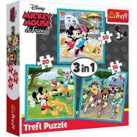 TF34846_001w Puzzle 3 in 1 Trefl, Mickey Mouse si prietenii (20, 36, 50 piese)