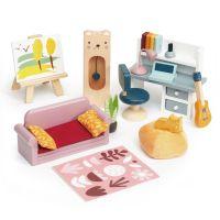 TL8159_001 Set mobilier din lemn, birou, pentru Casuta de papusi, Tender Leaf Toys, Foxtail Villa