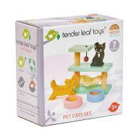 TL8161_001 Set figurine din lemn, pisici, pentru Casute de papusi, Tender Leaf Toys, 7 piese