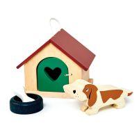 TL8162_001 Set cu figurina din lemn, catel, pentru Casute de papusi, Tender Leaf Toys, 4 piese