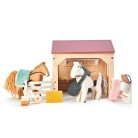 TL8165_001 Set figurine din lemn, Grajd cu cai, pentru Casute de papusa, Tender Leaf Toys, 13 piese