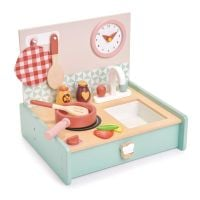TL8201_001 Chicinetac din lemn,  Mini Chef Kitchenette, Tender Leaf Toys, 11 piese