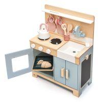 TL8205_001 Set de joaca, Bucatarie din lemn, Mini Chef Home Kitchen, Tender Leaf Toys, 16 piese