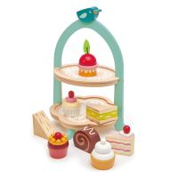 TL8242_001 Set de joaca, Stand pentru prajituri, din lemn, Tender Leaf Toys, 9 piese