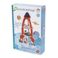 TL8311 Set de joaca, Racheta cu astronauti, din lemn Tender Leaf Toys, 11 piese