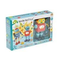 TL8652_001 Set figurine robot din lemn Tender Leaf Toys, 17 piese