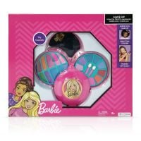 Set de cosmetice in caseta rotunda, cu 3 niveluri, Barbie