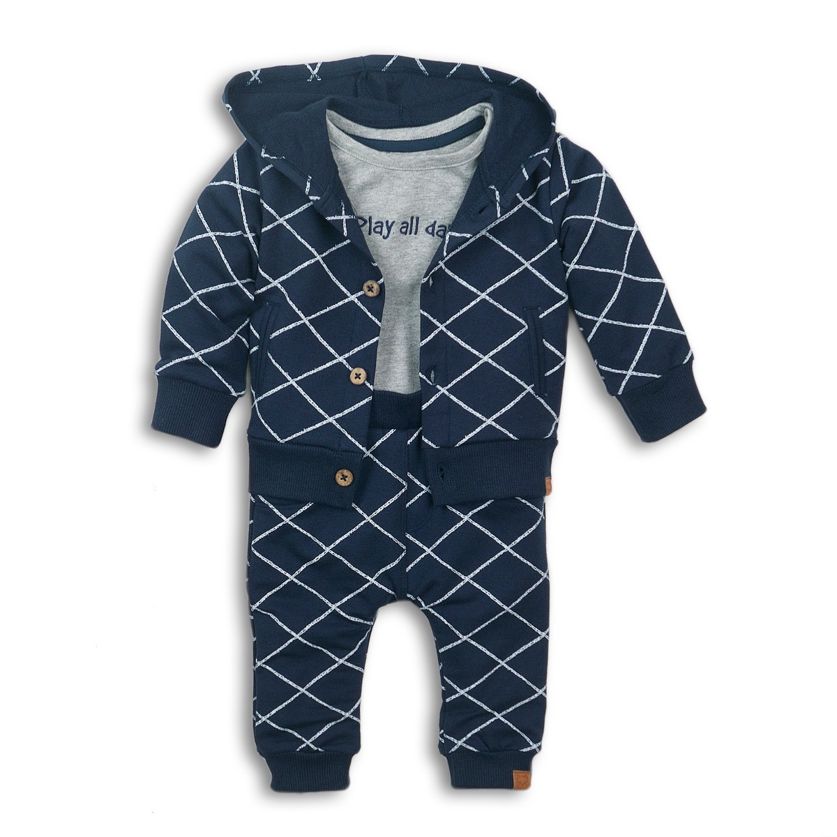 Set cardigan, tricou cu maneca lunga si pantaloni Play all day! Dirkje imagine 2021