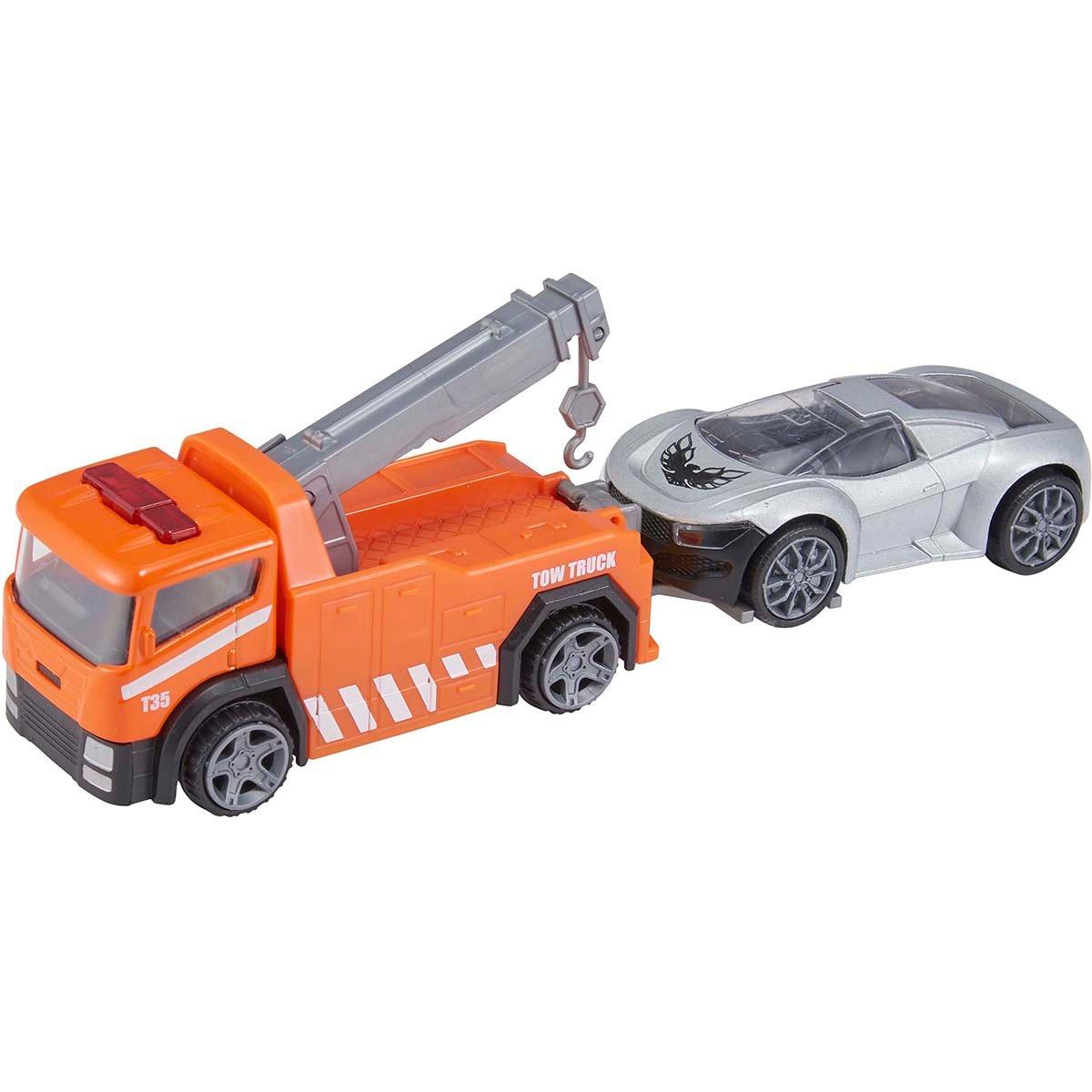 Camion de tractare cu masinuta Teamsterz, Portocaliu