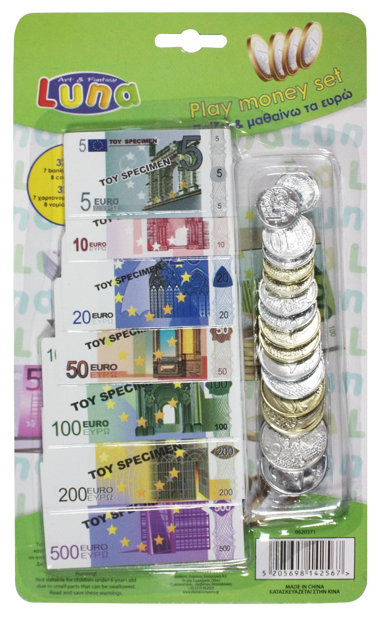 Set de bancnote si monede euro - Luna