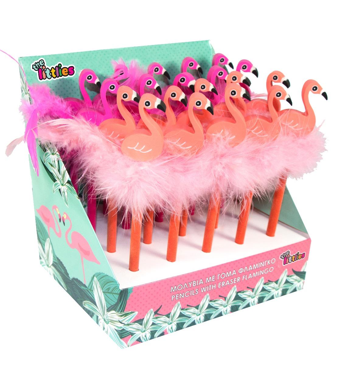 Creion cu guma de sters The Littles, Flamingo