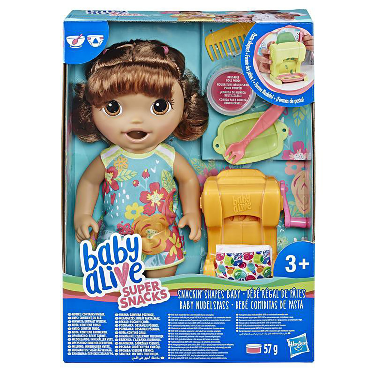 Papusa Baby Alive - Snackin Shapes, Brown Hair