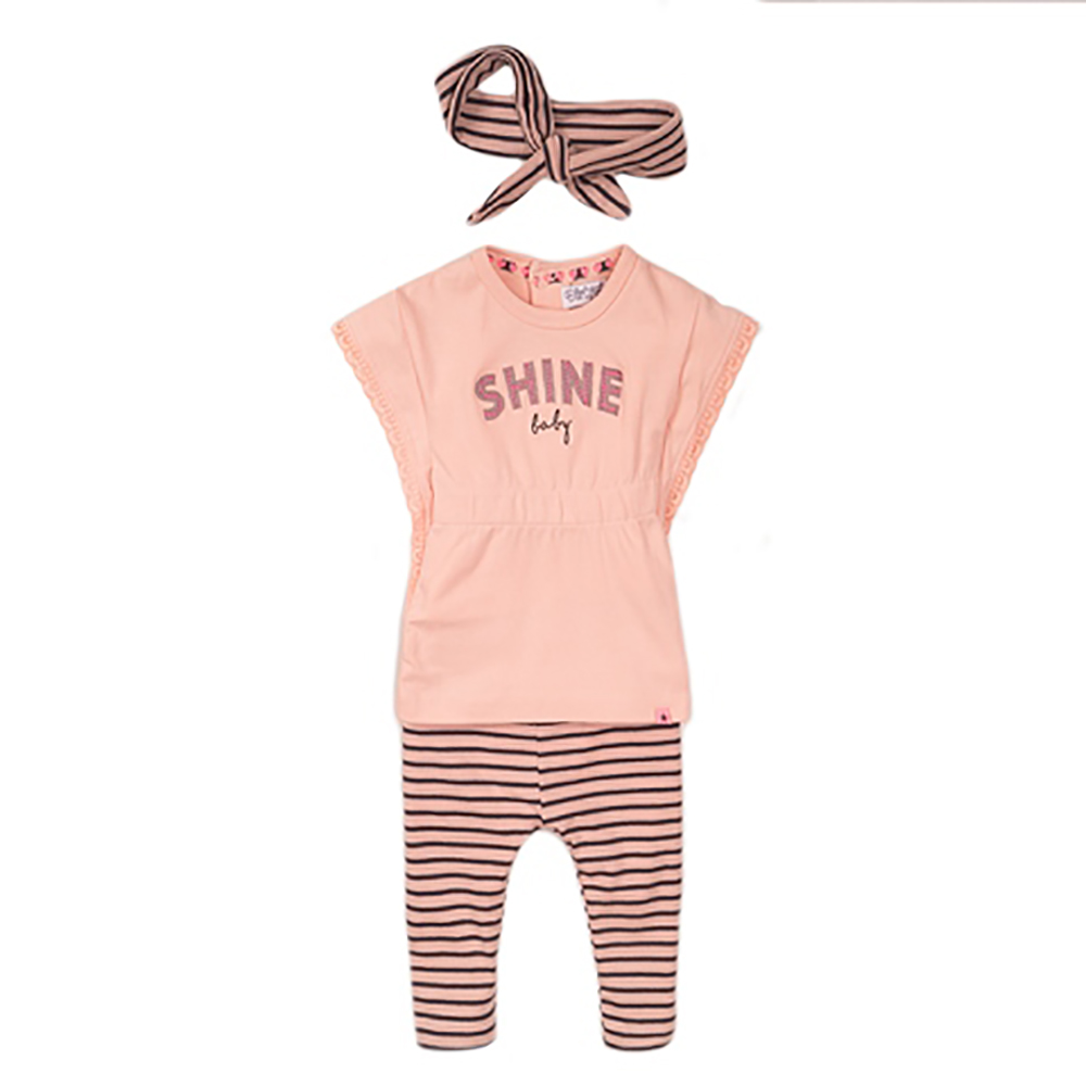 Set tricou cu maneca scurta, colanti si bentita Dirkje, Shine Baby imagine