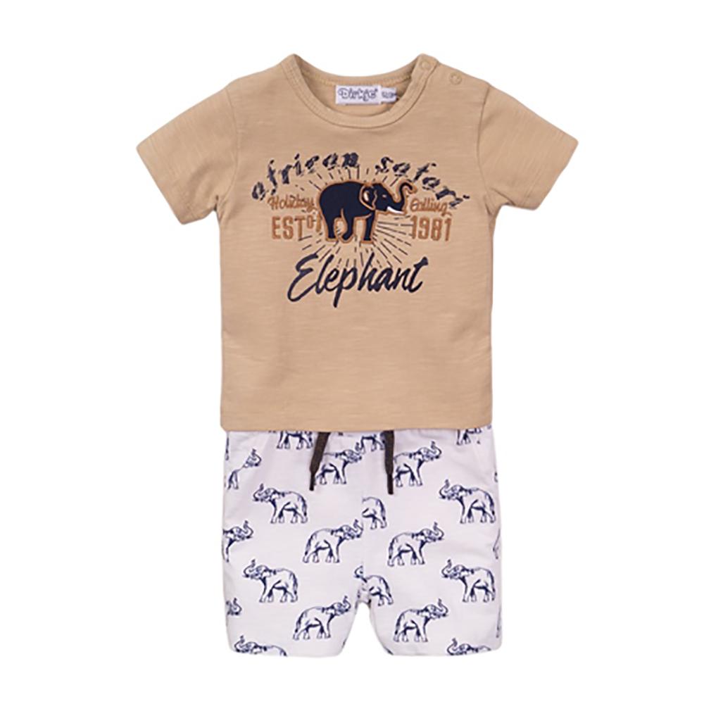 Set tricou cu maneca scurta si pantaloni scurti Dirkje Elephant imagine