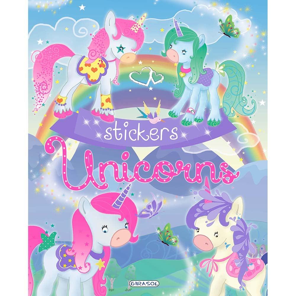 Carte Editura Girasol, Unicorns Stickers, Albastru imagine