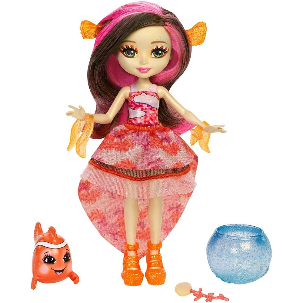 Set Papusa Enchantimals - Clarita Clownfish si figurina Cackle, FKV56