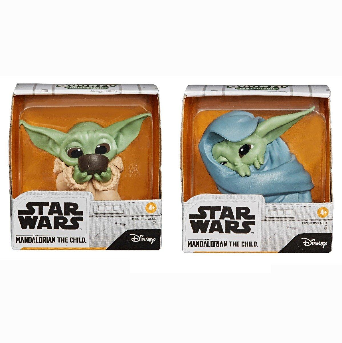 Set 2 figurine Star Wars, Baby Yoda, The Child, Soup Blanket, 5 cm