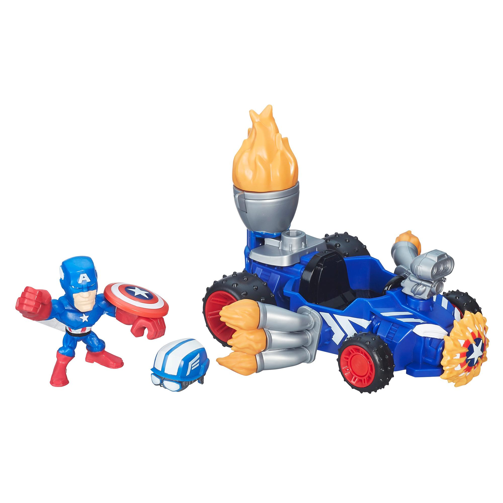 figurina cu vehicul marvel super hero mashers - captain america racer