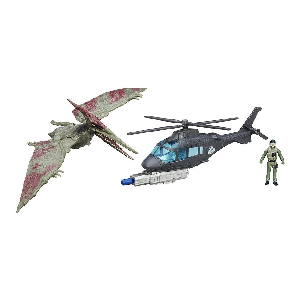figurina jurassic world - pteranadon si elicopterul