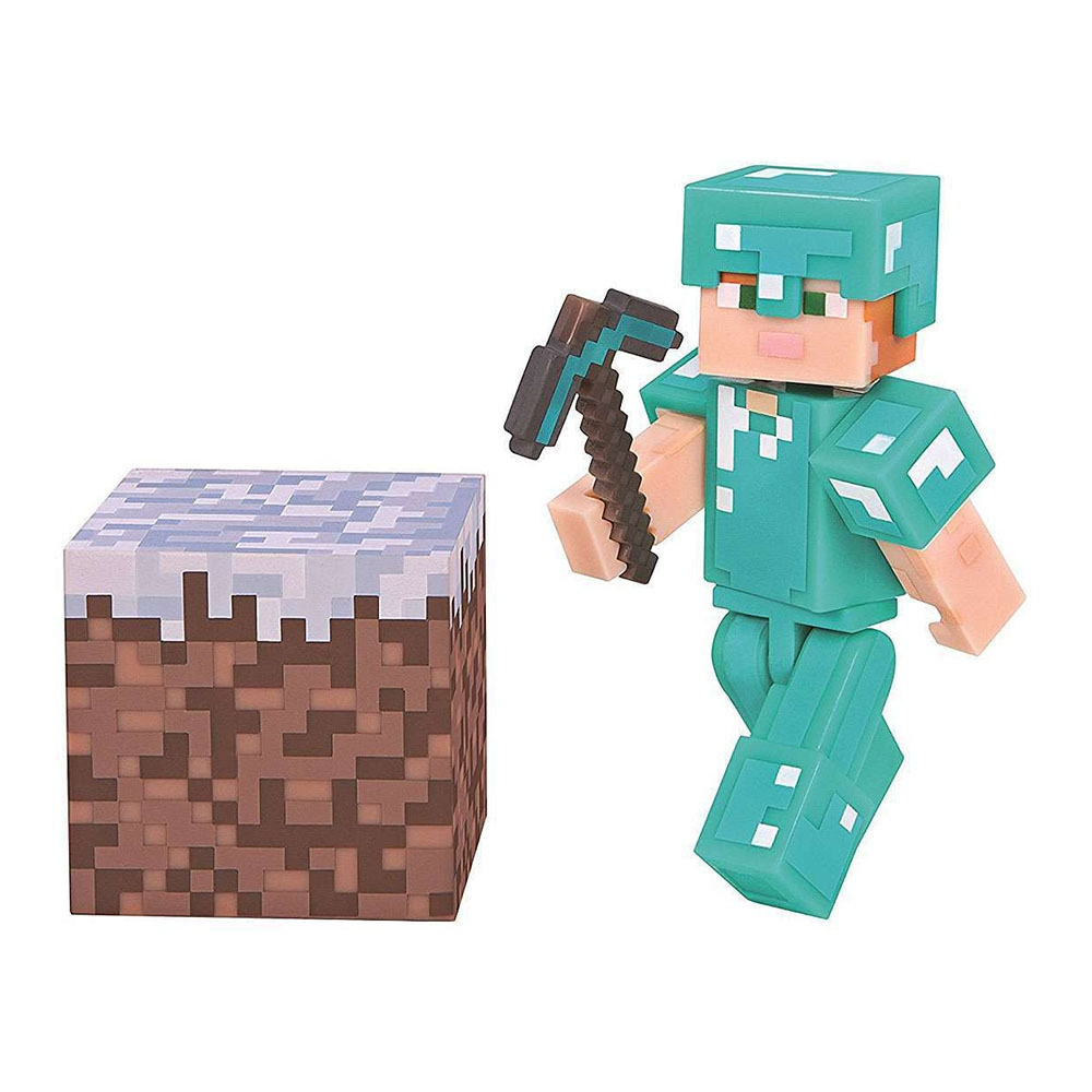 figurina minecraft action seria 3 - alex with diamond armor