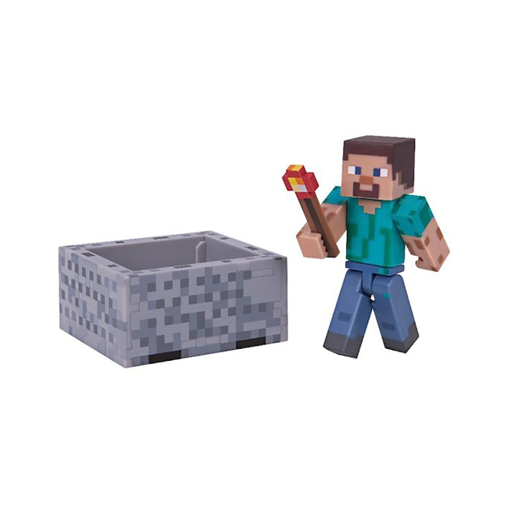 figurina minecraft action seria 3 - steve with minecart