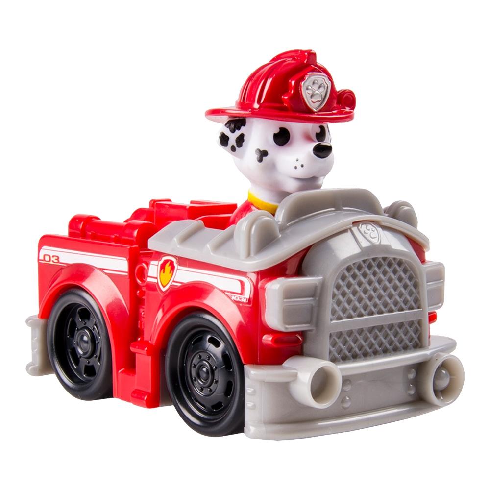 Figurina Paw Patrol Racers - Masina de pompieri a lui Marshall