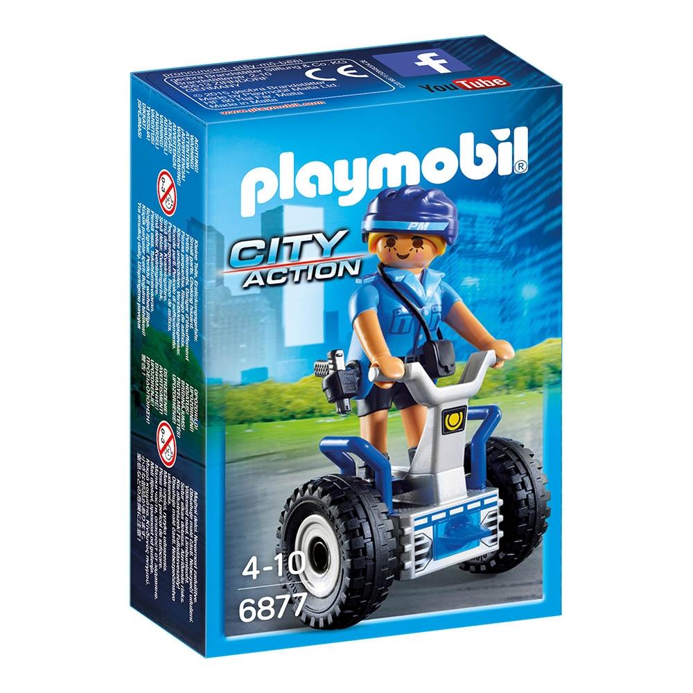 figurina playmobil city action - politista cu masina de echilibru (6877)