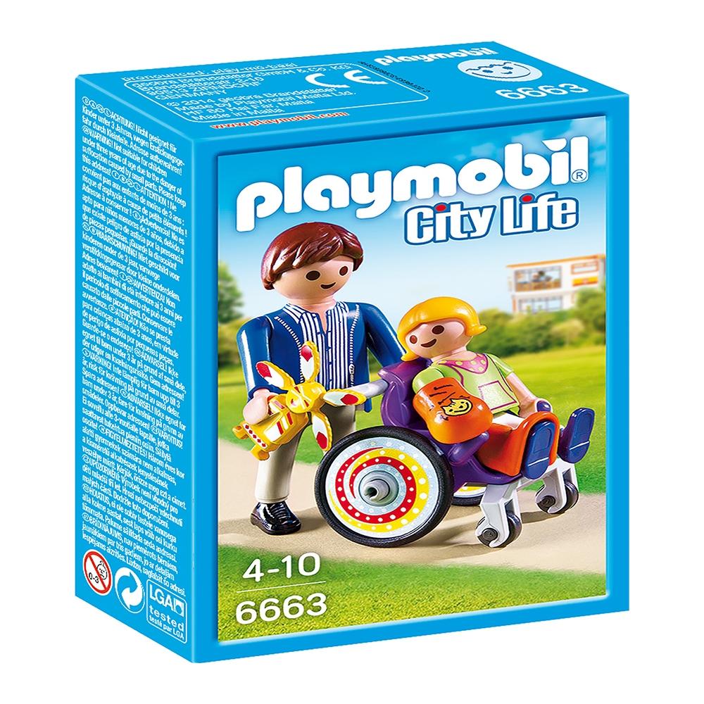 figurina playmobil city life - copil in carucior cu rotile (6663)