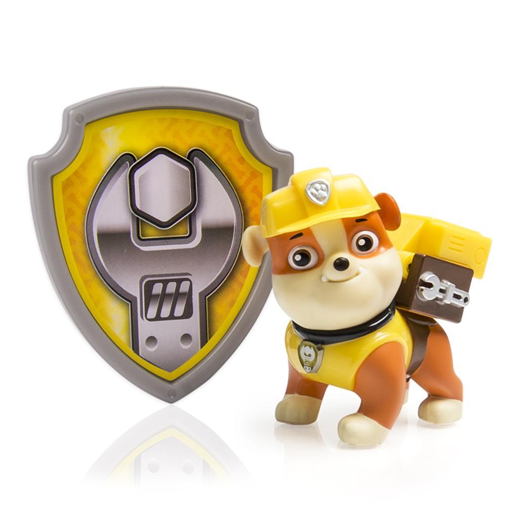 figurina si insigna paw patrol - rubble constructor, 6.3 cm