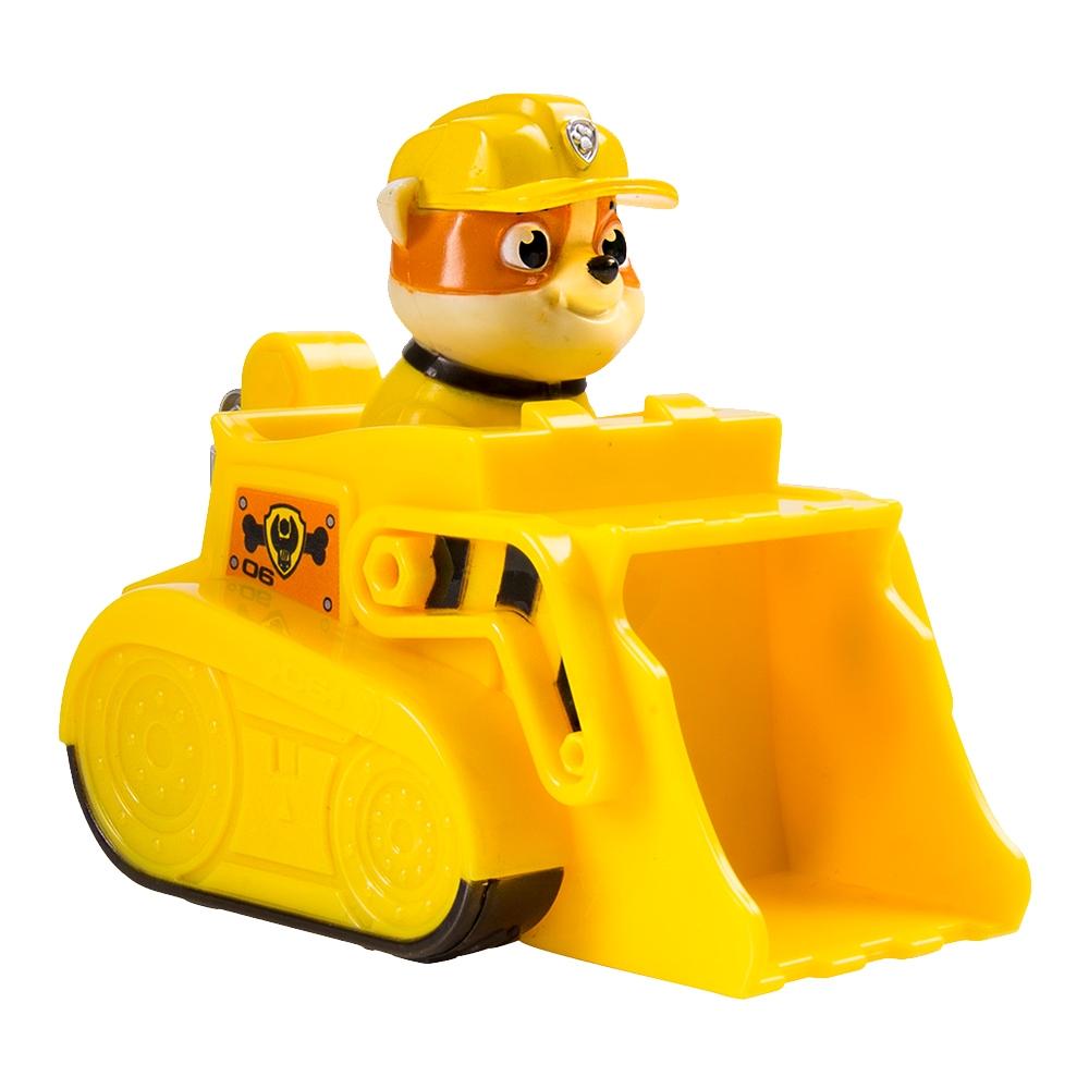 Figurina si vehicul Paw Patrol Racers - Buldozerul lui Rubble