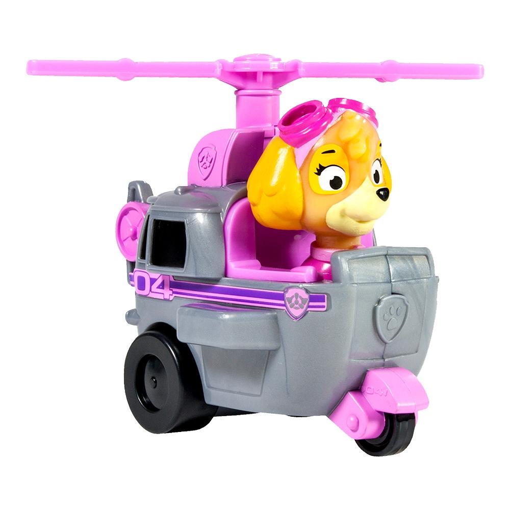 figurina si vehicul paw patrol racers - elicopterul lui skye