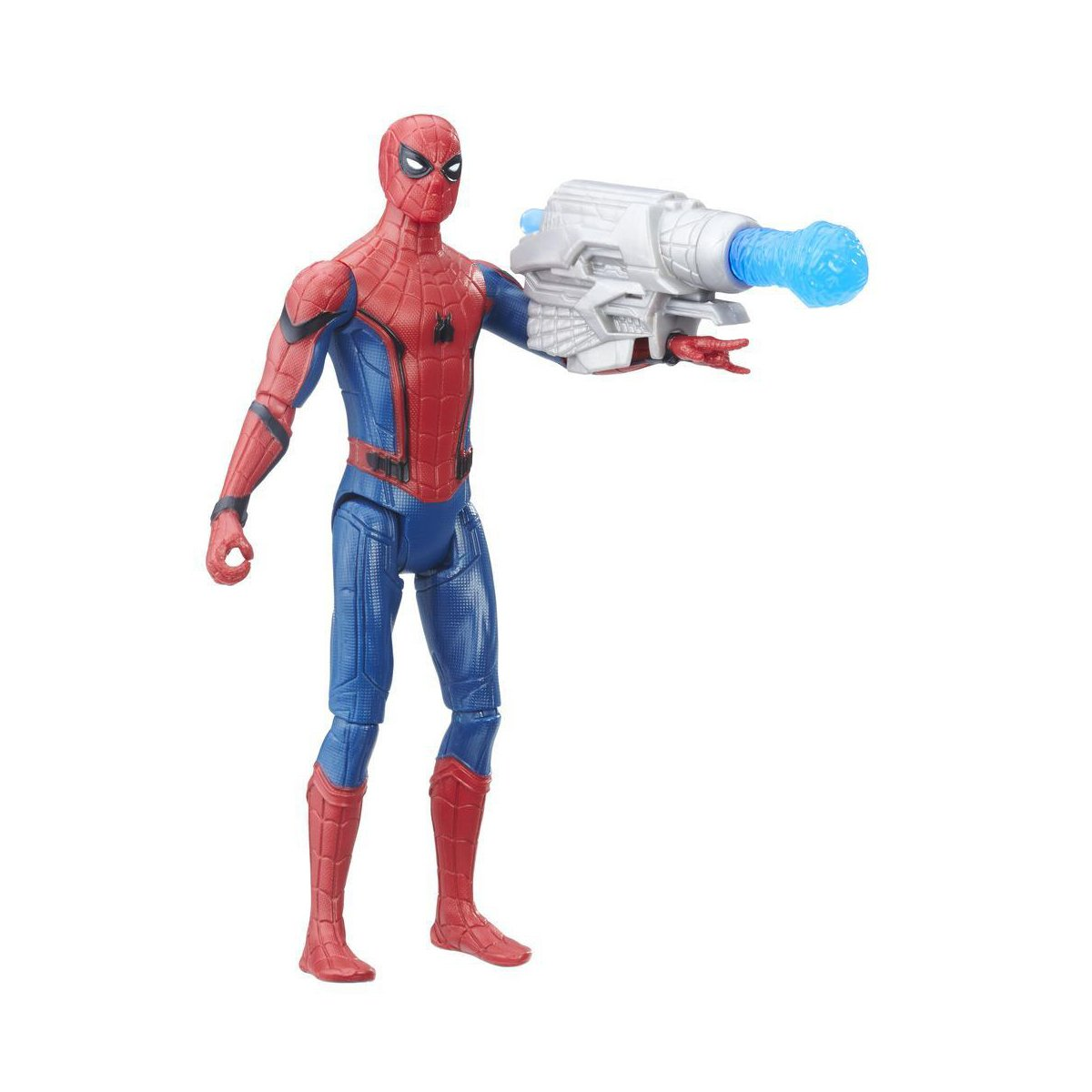 figurina spiderman homecoming - spiderman cu blaster, 15 cm