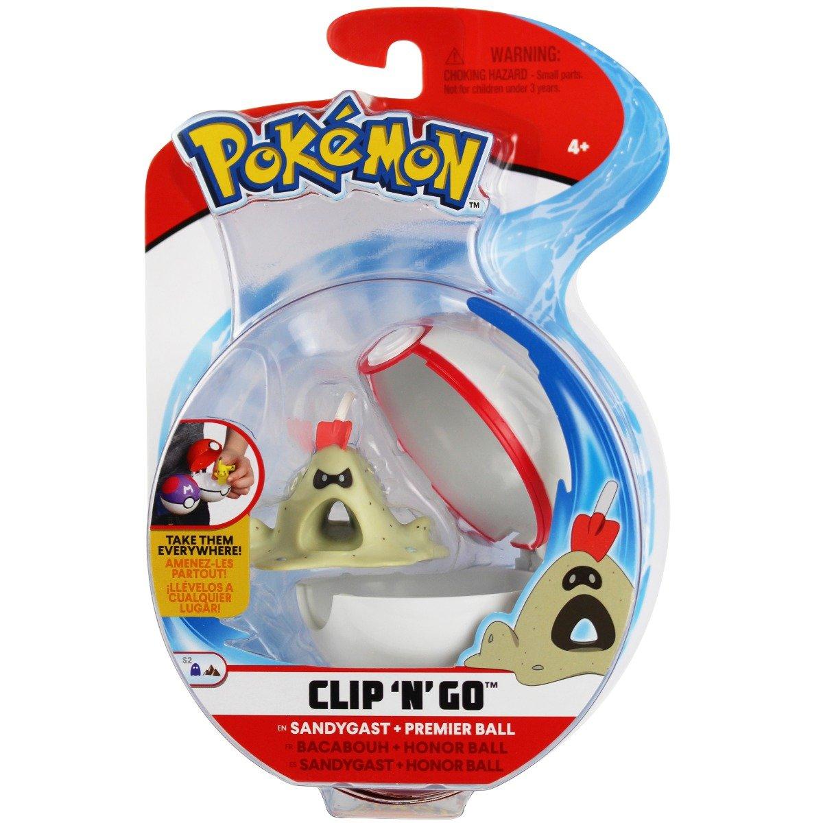 Figurina in bila Clip N Go Pokemon S2 - Sandygast, Premiere Balll (95062)