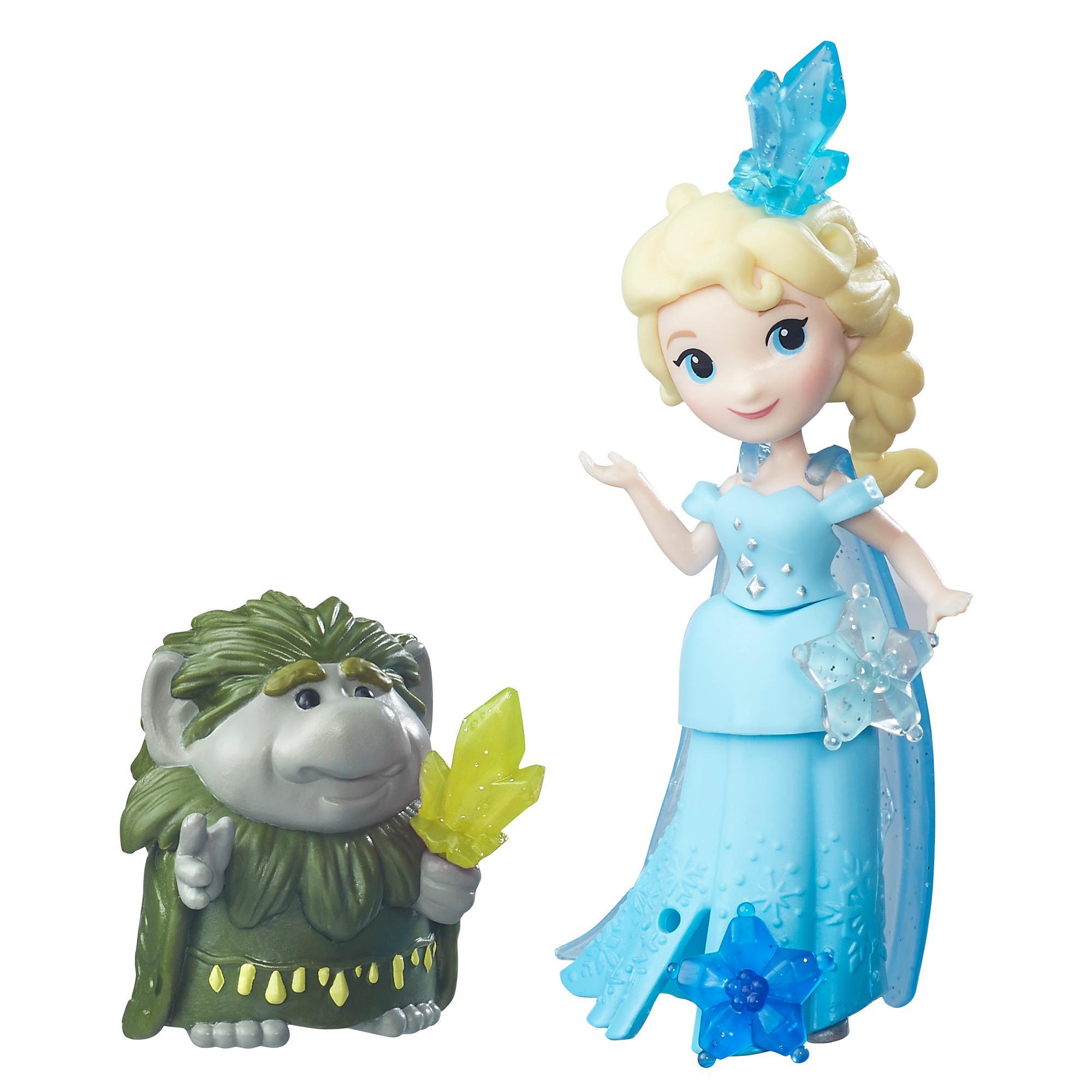 figurine disney frozen - elsa si liderul trolilor marele pabbie, 7.5 cm