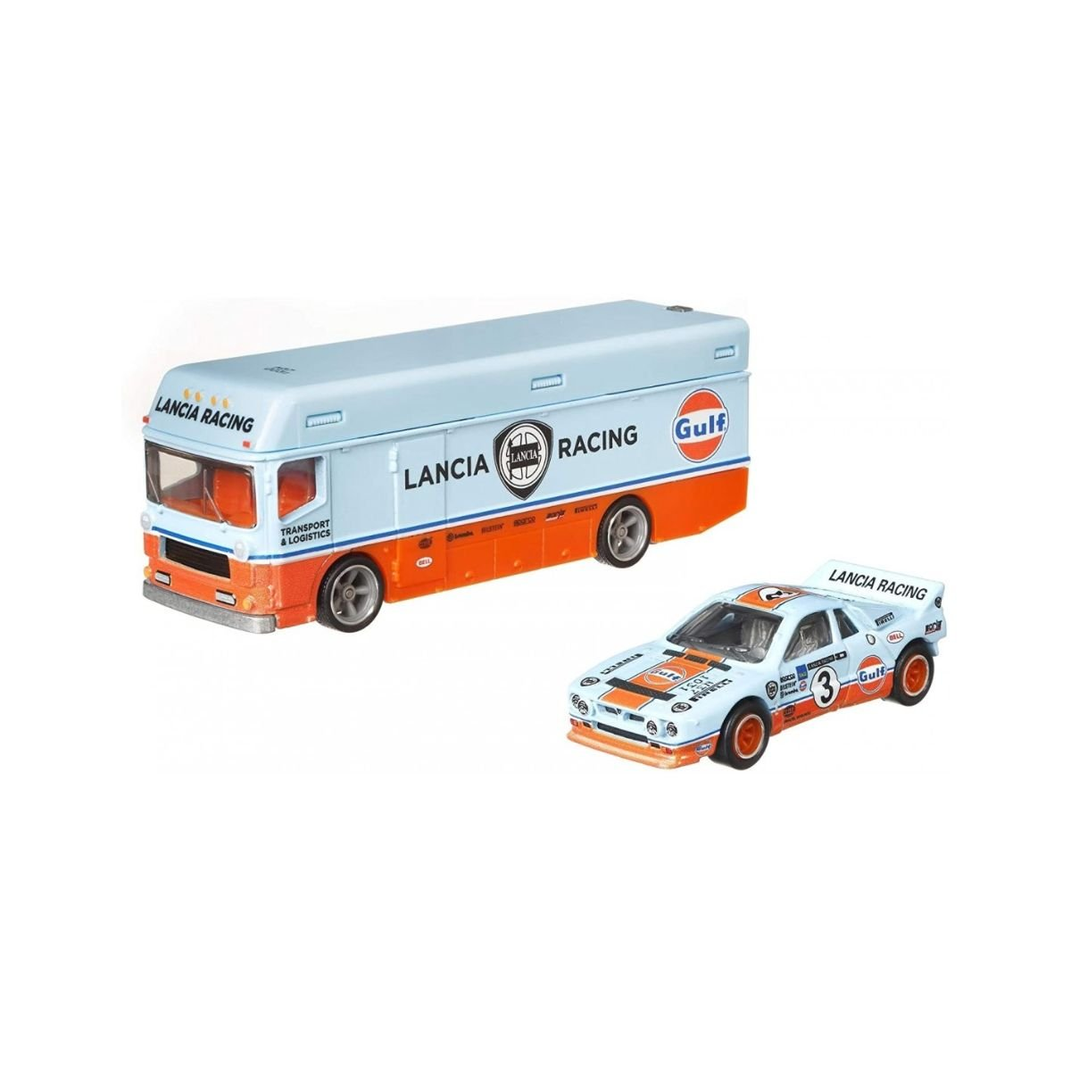 Transportator cu masinuta Hot Wheels, Lancia Rally, GRK49, 1:64