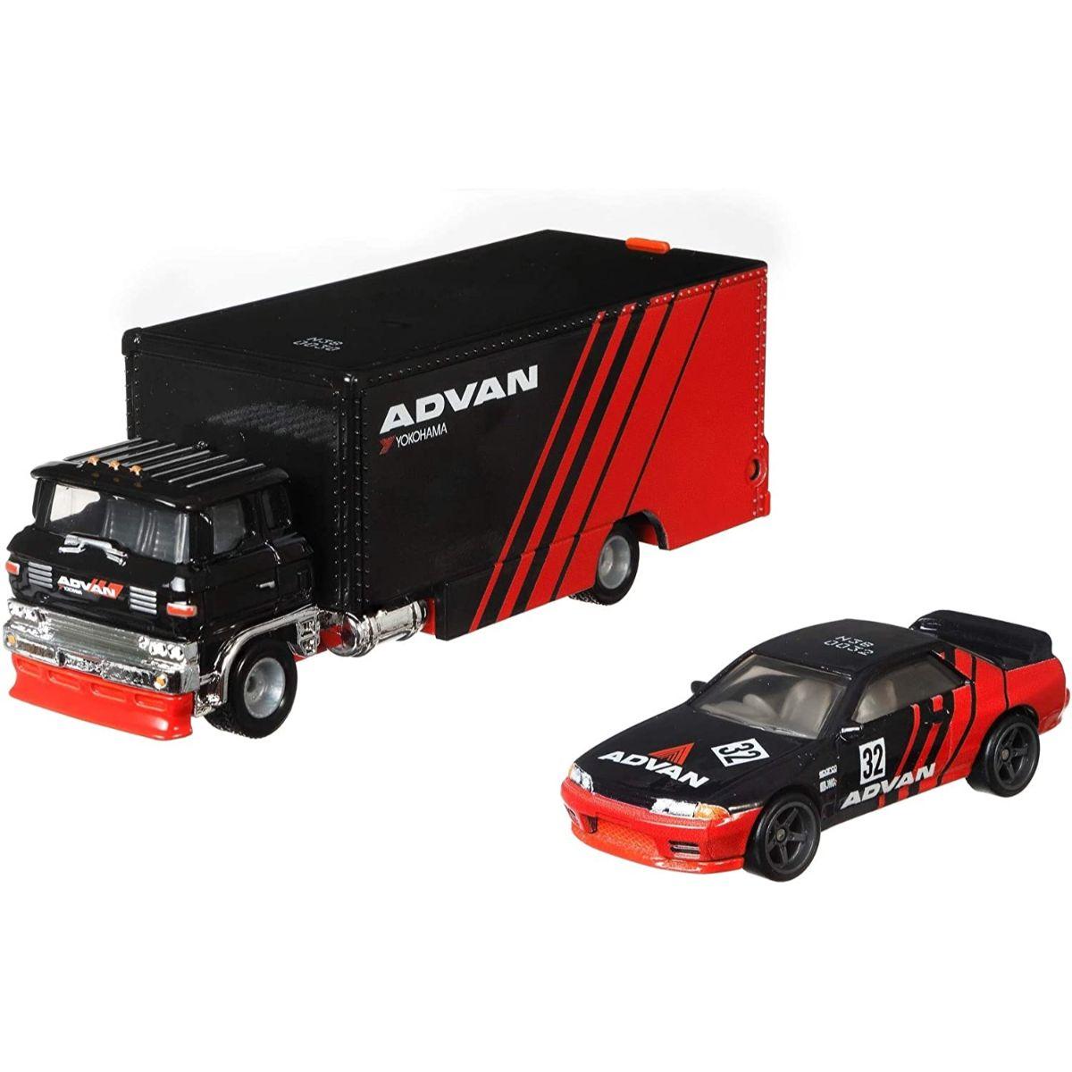 Transportator cu masinuta Hot Wheels, Nissan Skyline Gt-R, Sakura, GRK55, 1:64