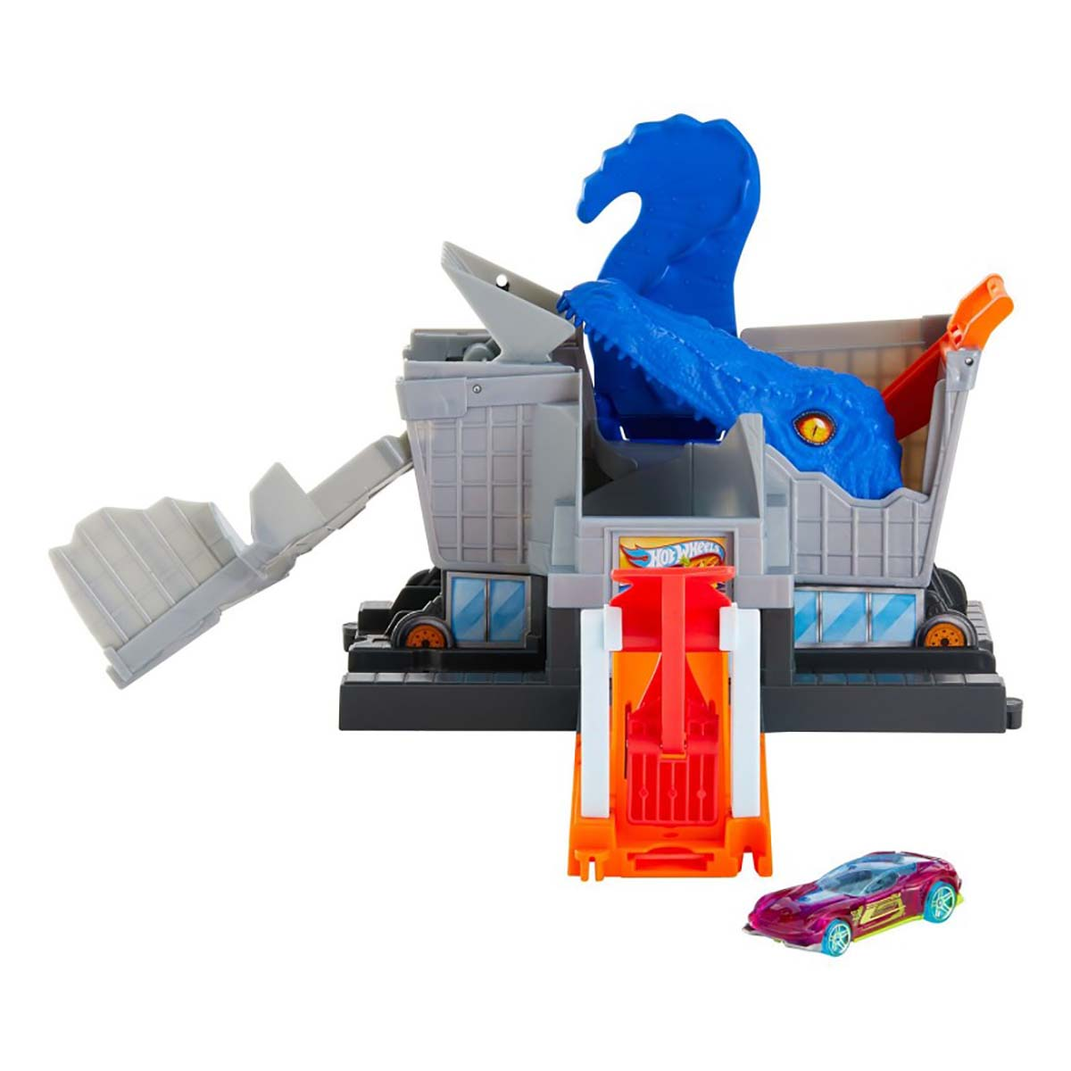 Set de joaca Circuit cu obstacole Hot Wheels City, T-Rex Grocery (GBF92)