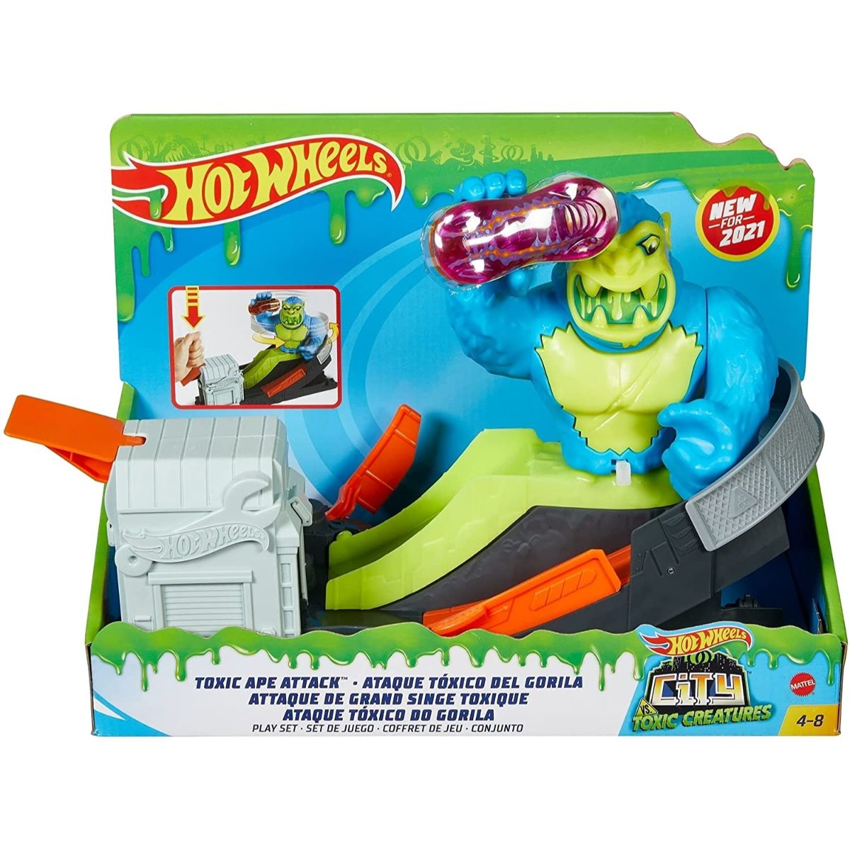 Set de joaca Circuit cu obstacole Hot Wheels City, Toxic Ape Attack, GTT66