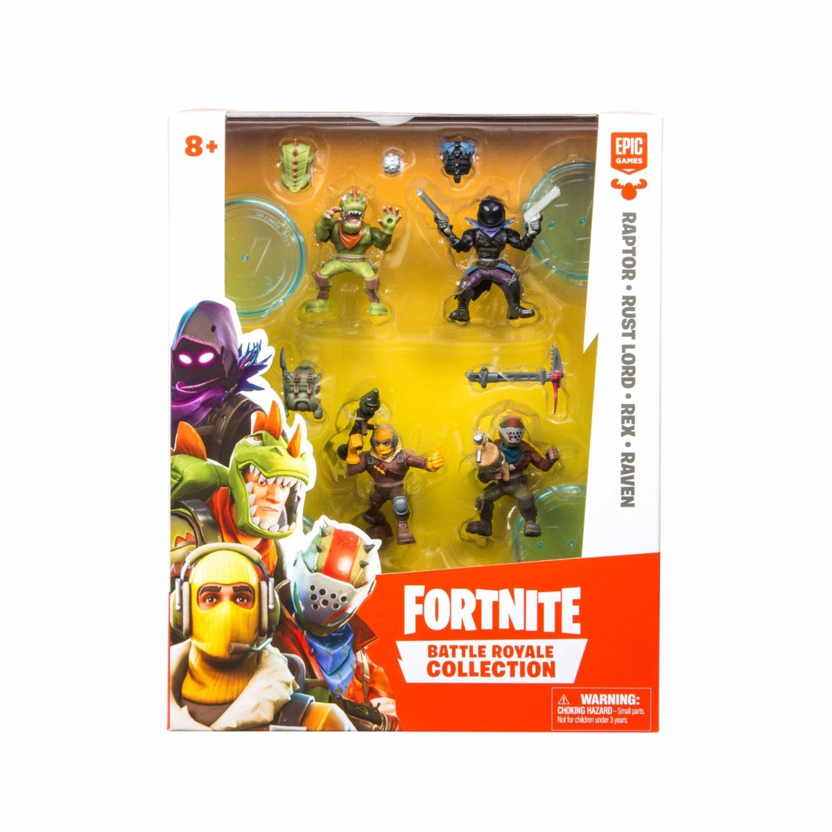Set 4 figurine articulate Fortnite, Raptor, Rust Lord, Rex, Raven, W1