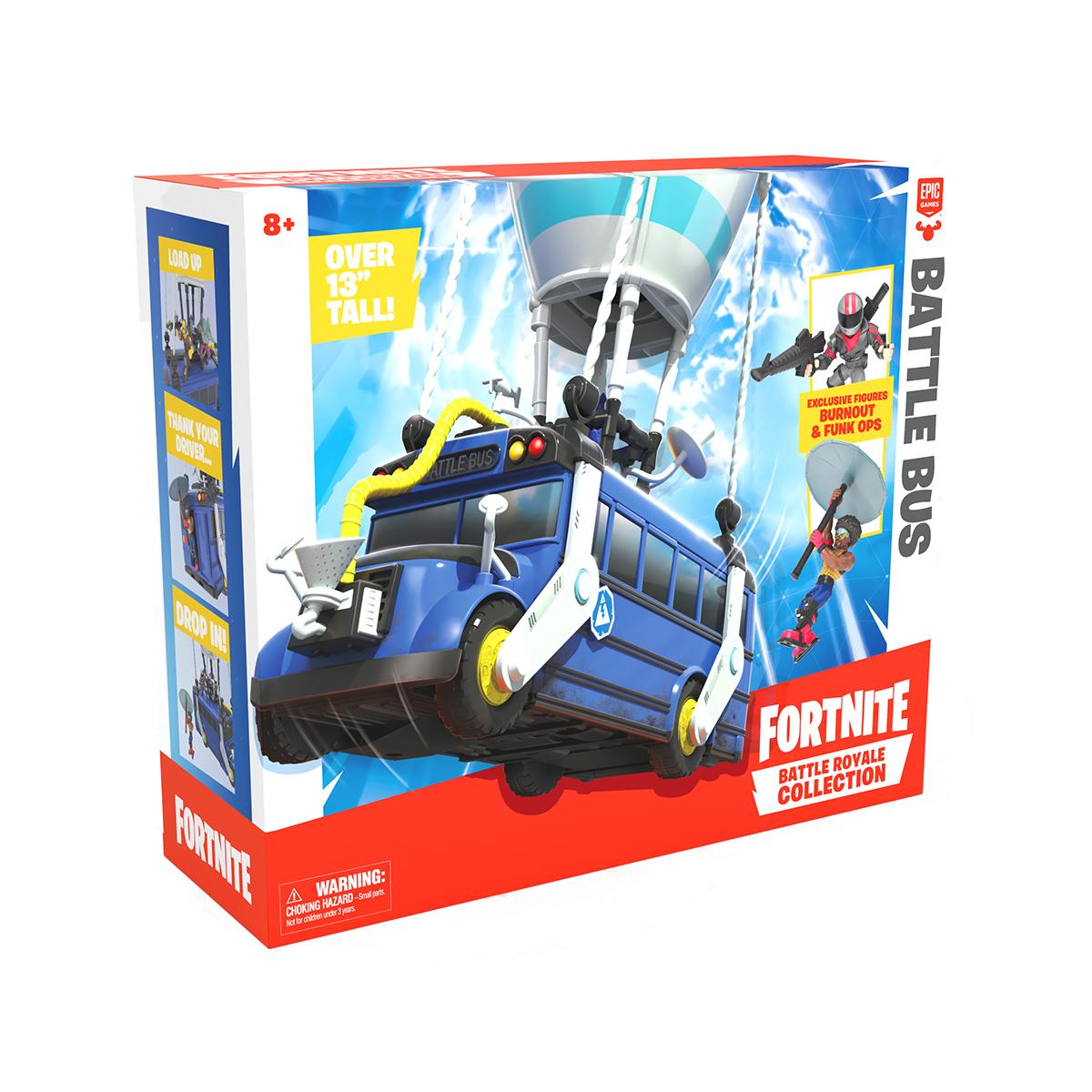 Set 2 figurine Fortnite, Burnout si Funk Ops, Battle Bus