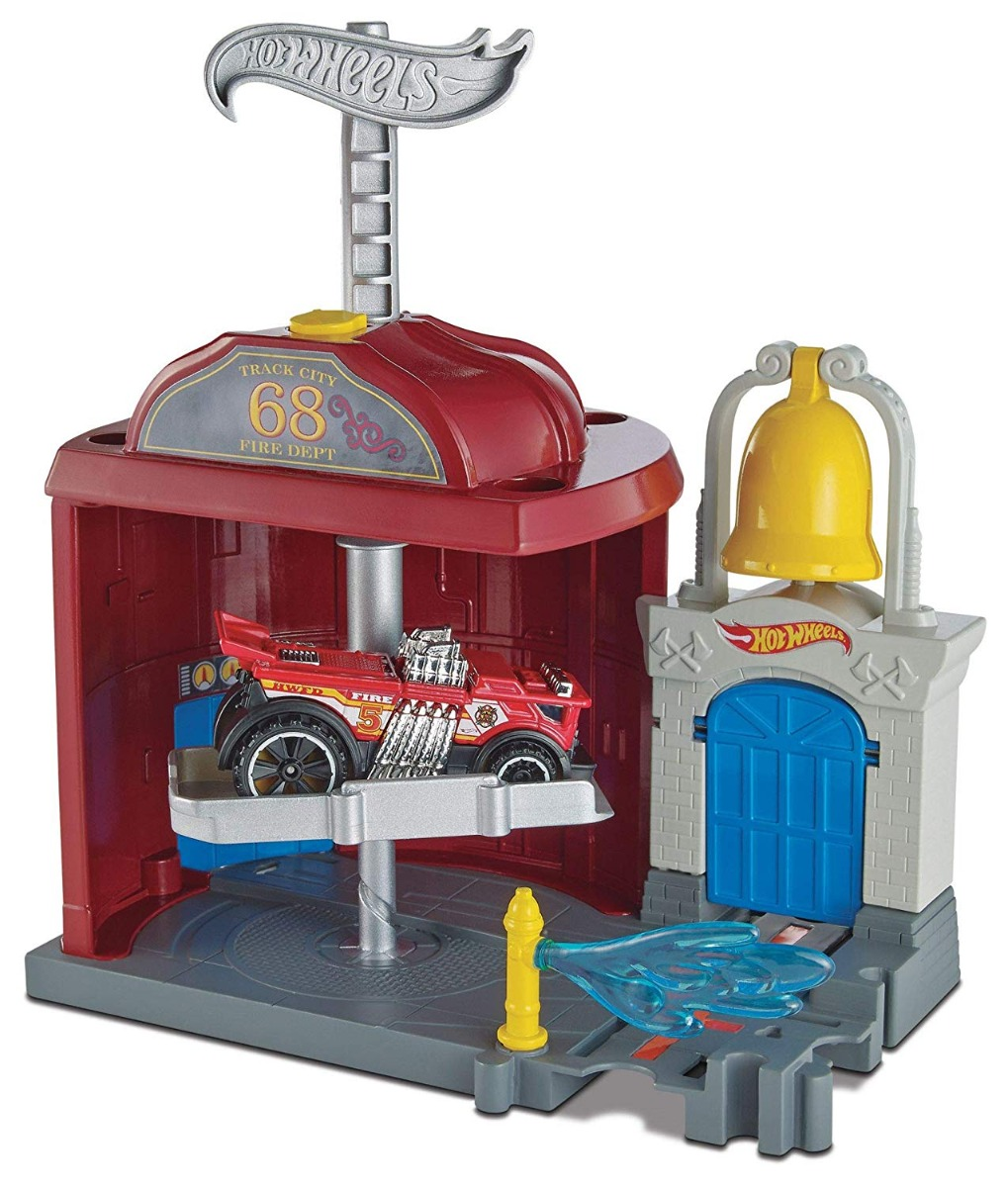 Set circuit cu masinuta Hot Wheels City, Statie de Pompieri, FRH29