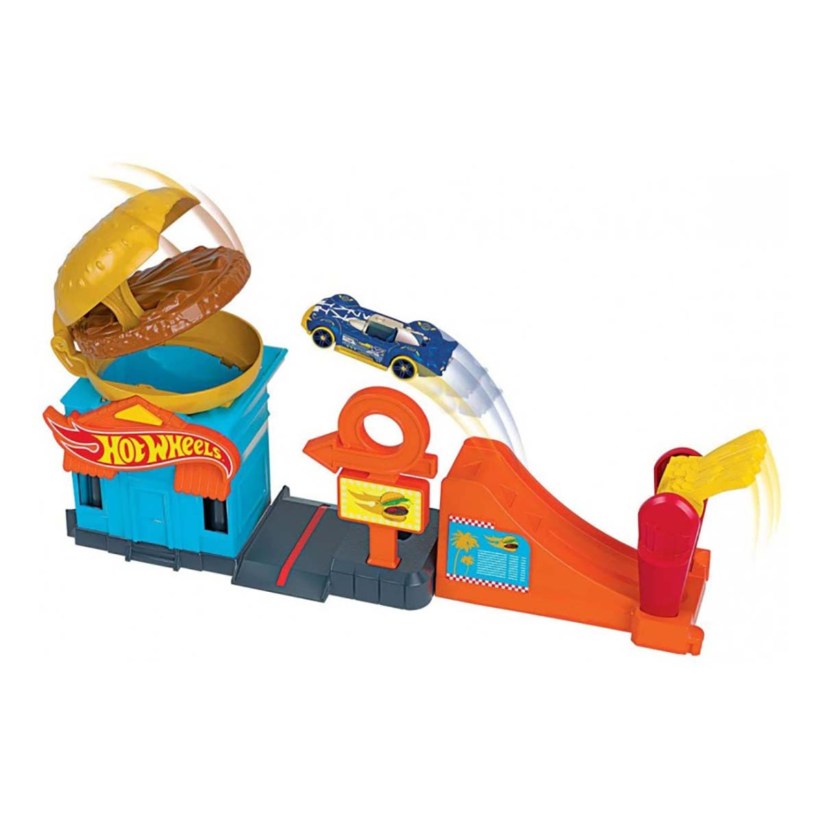 Set circuit cu masinuta Hot Wheels City, Downtown Burger Dash (GPD09)