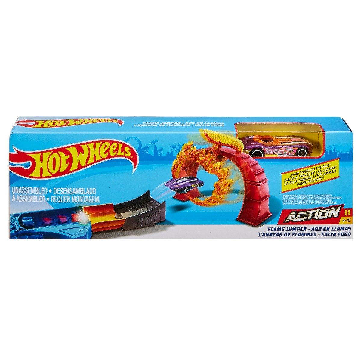 Set de joaca Circuit cu masinuta si obstacole Hot Wheels, Flame Jumper, FTH81
