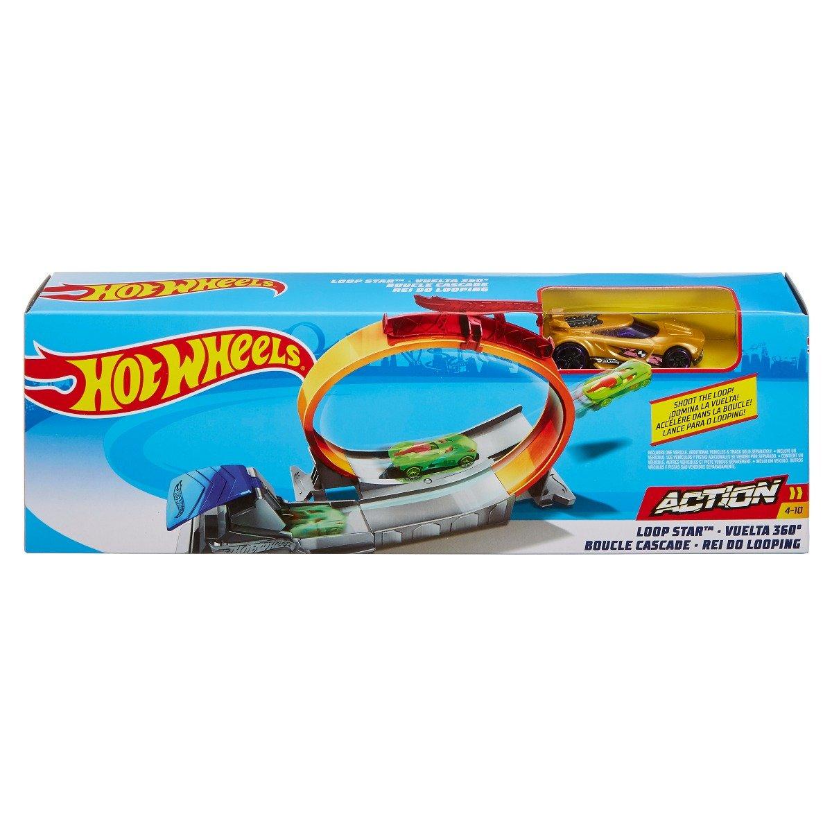 Set de joaca Circuit cu masinuta si obstacole Hot Wheels, Loop Star, FTH82