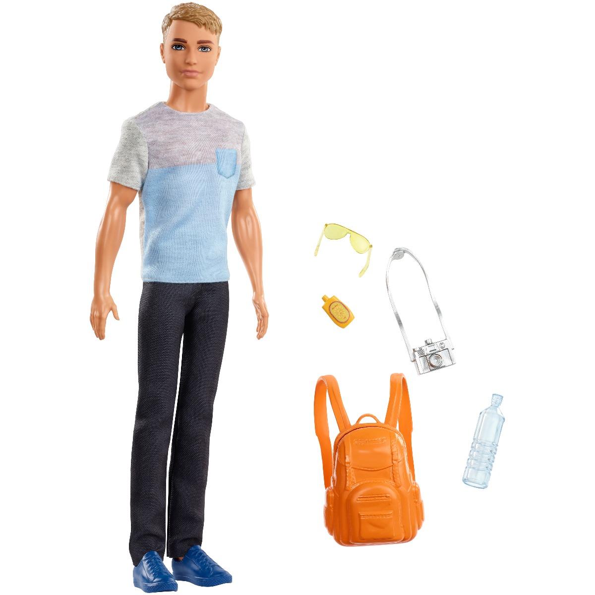 Papusa Barbie Travel, Ken cu accesorii de calatorie