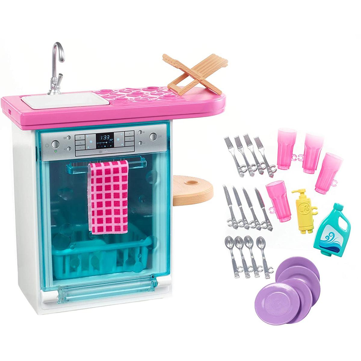 Set de joaca Barbie, Masina de spalat vase si accesorii, FXG35