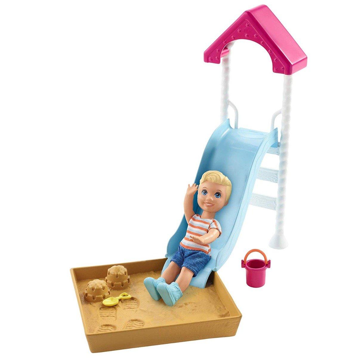 Set Barbie Skipper Babysitters - Papusa bebe si tobogan, FXG96
