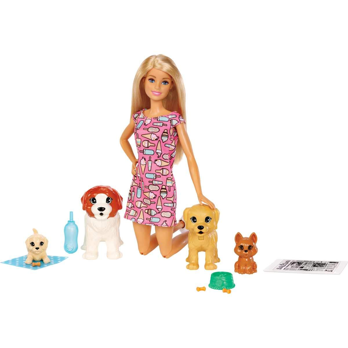 Set papusa Barbie Family cu catelusi