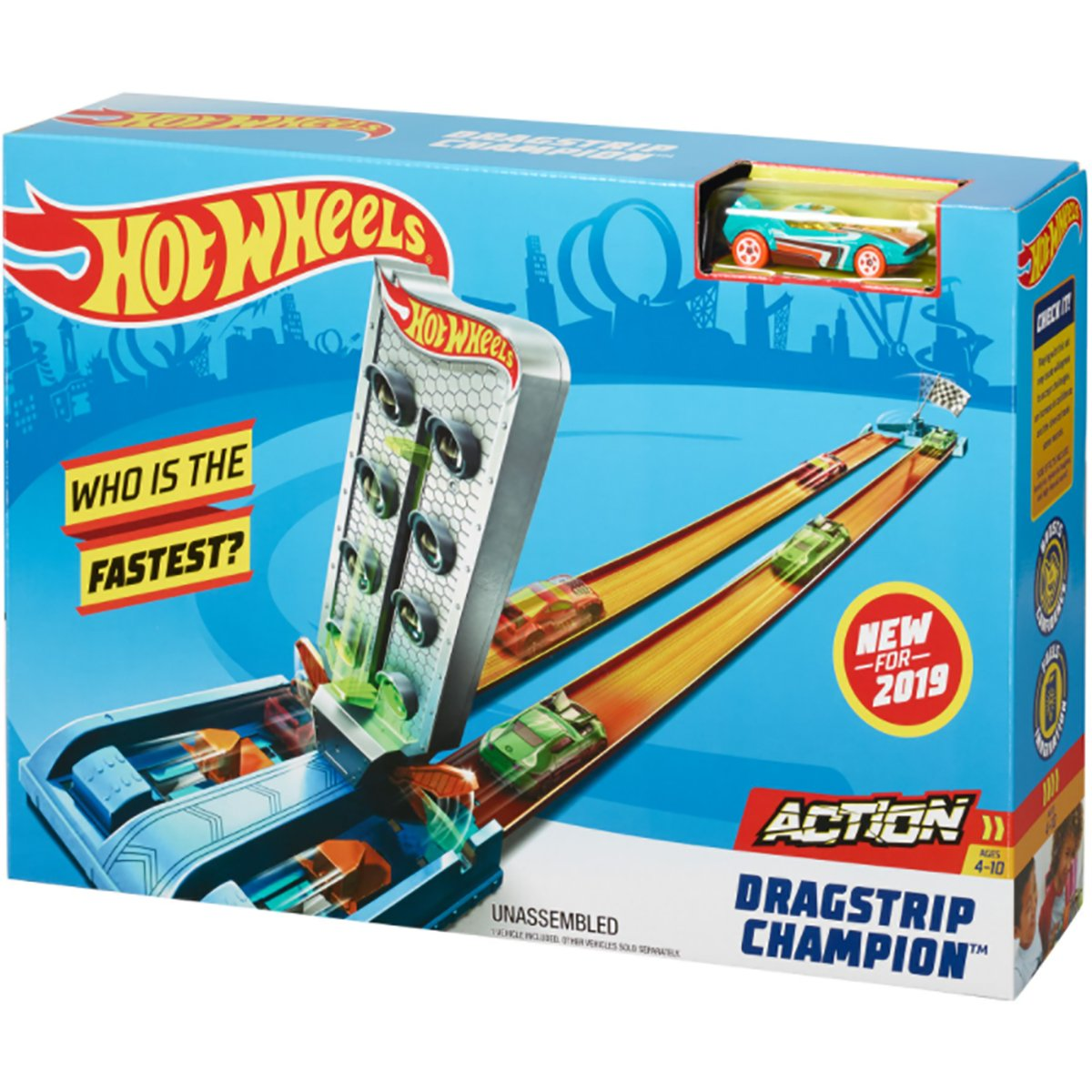 Set de joaca Circuit cu obstacole Hot Wheels, Dragstrip Champion GBF82