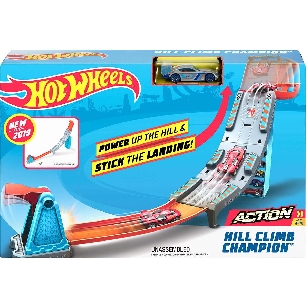 Set de joaca Circuit cu obstacole Hot Wheels, Hill Climb Champion GBF83